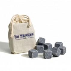 """Glaçons en granit réutilisable """"On the Rocks"""" sachet de 10 glaçons"""